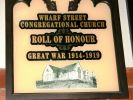 Wharf Street Congregational Church 1914-1919 Roll of Honour - section showing title of memorial