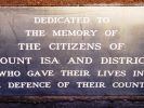 Mount Isa War Memorial - Dedication plaque