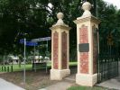 Yeronga Memorial Park sign and left piers of Park Road gates