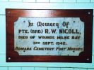 Clifton Allara and Green Mount Districts Roll of Honour - Plaque