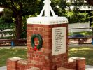 New Farm State School War Memorial - Roll of Honour and laurel wreath adornment