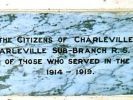 Charleville War Memorial - Dedication Plaque