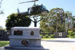 Cenotaph, with 2013 dedication plaque, and 'Huey' helicopter