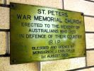 Caboolture St Peter's Catholic War Memorial Church - brass memorial plaque at entrance